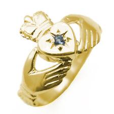 Claddagh Ring Birthstone Set 9ct Gold Uk Hallmarked