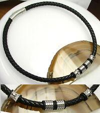 Herren Halskette Edelstahl Lederhalsband geflochten 6mm schwarz mit 4x Beads TOP
