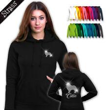 femmes pull à Capuche Sweat-shirt strass strassdruck Chien Collie M1