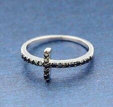 ▌925 Sterling Silver Black CZ Sideways CROSS Ring Size 4,5,6,7,8,9,10 » R82