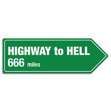 Highway To Hell Distance Sign  - Metal Wall Plaque Art Arrow Road Rock 666