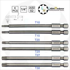 """Bit Set Torx 1/4"""" garantito contro ogni abuso in acciaio S2 T10/T15/T25/T20/T27/T30 x100mm Yato"""