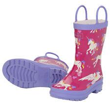 NEW Pull On Kids Rubber Wellies Rain Boots Gumboots Unicorns & Rainbows on Pink