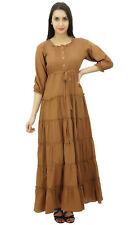 Bimba Womens Light Brown 3/4 Sleeve Summer Cotton Maxi Dress Drawstring Waist