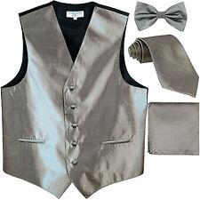 New Men's chintz Tuxedo Vest Waistcoat & necktie & Bow tie & Hankie silver gray