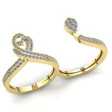 1carat Round Cut Diamond Ladies Double Finger Fashion Engagement Ring 10K Gold