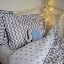 Single bedding duvet set grey stars , chevron, reversible , pure cotton, bedroom