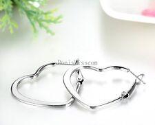 2Pcs Women's Silver Stainless Steel Hollow Heart Hoop Earrings for Ladies