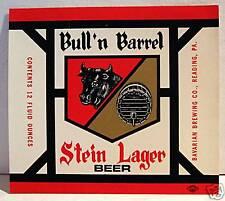 Bull'n Barrel Stein Lager Beer Bottle Label Reading Pa