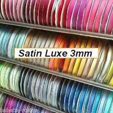 RUBAN SATIN LUXE  **3 mm** Longueur (3, 5 ou 10 m) & Coloris au choix - dragées