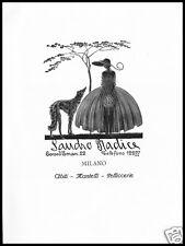 PUBBLICITA' 1926 PELLICCE ABITI MANTELLI SANDRO RADICE MILANO ALTA MODA LIBERTY