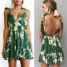 Boho Beach Dress Sexy Hollow Out Backless Spaghetti Strap V-Neck Floral Dress