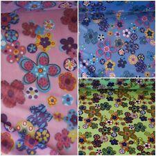 italienischer Netzstoff Jersey mit Blumen 3 Farben: ROSA HELLBLAU GRÜN #0534