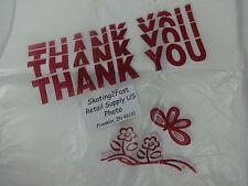 "THANK YOU T-Shirt Bags 11.5"" x 6.25"" x 21"" Clear Plastic Retail Shopping"