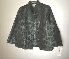 Caroline Rose Green Black Peacock Jacquard Jacket M, L