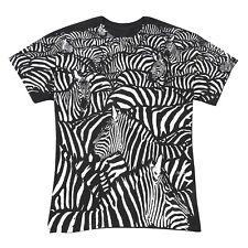Liquid Blue Men's Zebra Herd T-Shirt - Adult Black and White Animal Print Tee
