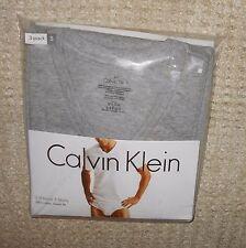 Calvin Klein men's 3 pair under V neck tee t shirts gray black white top $37.50