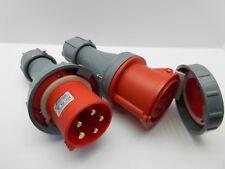 FAMATEL 63 AMP 5P 440 VOLT RED PLUG COUPLER CONNECTOR TRAILING INDUSTRIAL IP67