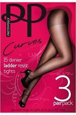 Pretty Polly curvas 15 Denier escalera resistir Medias 3 Par Pack