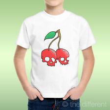 T-Shirt Bambino Ragazzo Cherry Skull Teschio Ciliegie Rosse Idea Regalo