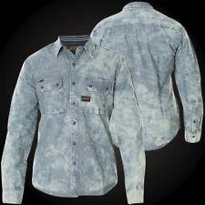 AFFLICTION Mens Button Down Shirt SUNSET BLUES Indigo Vtg Bleach Wash ROAR $88