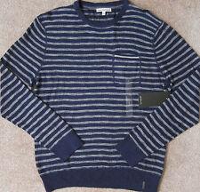 CALVIN KLEIN JeanS (Navy Armada) Mini Stripe Pocket Crewneck Sweater Men NWT $79