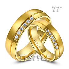 TT 14K GP S.Steel Engagement Wedding Band Ring For Couple Men&Women Enagravable