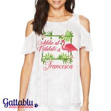 T-shirt donna Addio al Nubilato di.. PERSONALIZZABILE CON NOME, fenicottero rosa