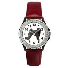 Bouvier Des Flandres Dog Women's Cubic Zirconia Leather Band Wrist Watch Sgp155