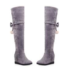 Women Fur Wedge Hidden Heel Plus Size Winter Warm Over The Knee High Long Boots