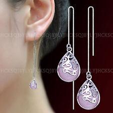 Fashion Jewelry 925 Sterling Silver Pink Opal Tassel Threader Wedding Earrings