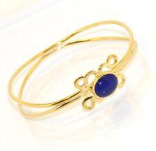Technibond Floral Sapphire Round Bangle Bracelet 14K Yellow Gold Clad Silver 925
