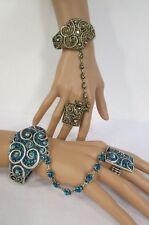 Women Fashion Cuff Bracelet Hand Chain Rhinestones Ring Gold Silver Blue