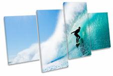 Surfista Beach Wave Surf Multi tela pared arte En Caja Enmarcado