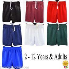 Boys Girls Kids Childrens School Sports Shadow Stripe Shorts PE Football 2-Adult