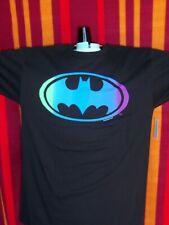 Batman Black SHIRT Colorful Gradient Neon Call Sign LOGO Bat Light Man NWT
