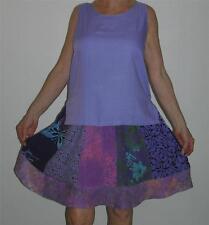 Wild Woman Batik Patch Rayon Violet Flared Short Skirt Roll Top Elastic Waist