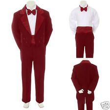 New Burgundy 5 PC Babys Boy Wedding Formal with Tail Tuxedo Suit sz: S M