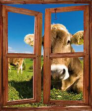 Sticker fenêtre trompe l'oeil Vache réf 748