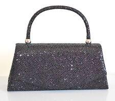 POCHETTE NERA donna borsello elegante brillantini borsetta clutch borsa Z12