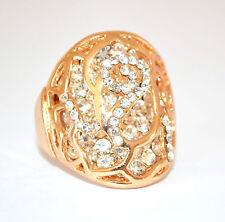 ANELLO ORO donna BRILLANTINI strass fedina CRISTALLI dorato ring inel anneau 160