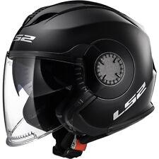 LS2 OF570 Open Face DVS Motorbike Motorcycle Helmet Verso Plain Solid Black