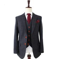 Wool Dark Grey Herringbone Man Suits Tweed tailor slim fit wedding suits