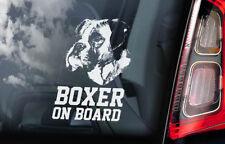Boxer on Board - Car Window Sticker - Deutscher German Dog Sign Gift Decal - V01