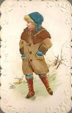 CHROMO FANTAISIE GAUFREE ENFANT JEUNE FILLE DOS VIERGE FORMAT 6.5 x 10.5 cm