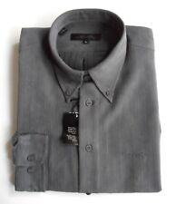 PIERRE CARDIN Shirt Mens Button Down Collar Long Sleeve Polynosic Charcoal