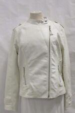 Daytrip XS S M L Women White Faux Leather Moto Asymmetrical Jacket MSRP $60 E28