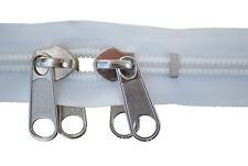 Reißverschluss 10 mm Spirale rohweiß 2 silbernen doppelgriff Schieber bis 300 cm