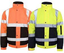 HI VIZ VIS WATERPROOF SAFETY WORKWEAR COAT TWO TONE REFLECTIVE BOMER JACKET 8-20