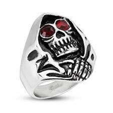Unisexe Bague en acier inox Grim Reaper avec Rouge Yeux NEUF - Bijoux de